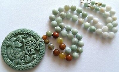 '100% Natural Icy-Green Jade Jadeite Necklace & Carved Kung Hei Fortune Pendant