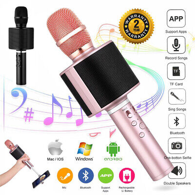 New Wireless Microphone Speaker Bluetooth KTV Karaoke USB+Box For iPhone Android