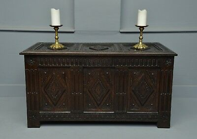 19th Century Carved Oak Coffer