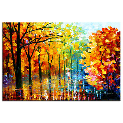 HD Canvas Print Poster Autumn Garden Oil Painting Wall Art for Room Office Decor