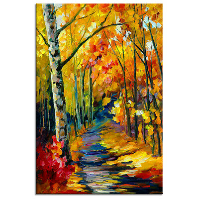 HD Canvas Print Poster Forest Path Oil Painting Wall Art for Room Office Decor