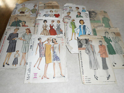 12 Antique Patterns 1940's 1950's & some 1960's? OUT OF A OLD DRESS MAKERS HOME