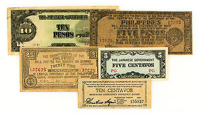 Set of 5 diff. WW2 Philippines guerilla and Japanese invasion currency circ