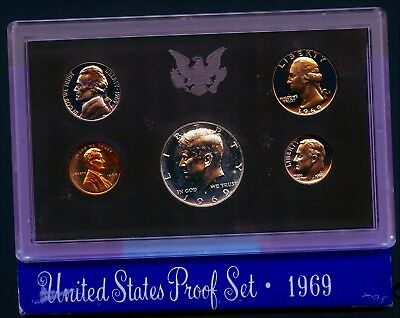 1969 S (1) One Set = *5*  Proof Coins 40% Silver Kennedy Original Mint Packaging