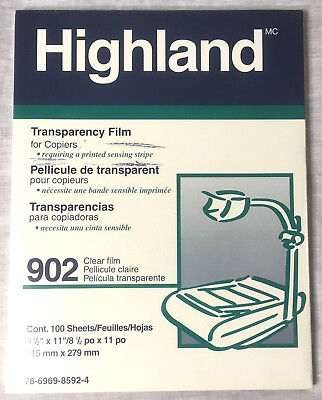 Highland Brand 902 Transparency Film Clear - 100 Sheets Unopened