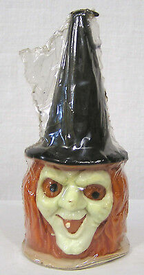 Vintage Unused Halloween Gurley Candle Witch Face w Orange Hair Orig Price 1960s