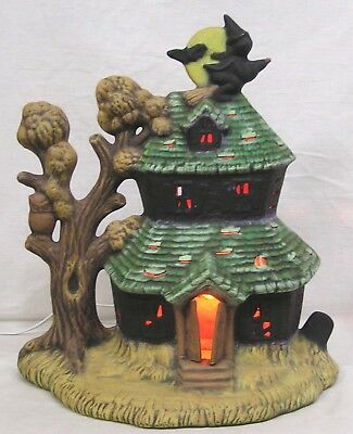 Vintage Ceramic Haunted Witch House Halloween Light 1980s Works
