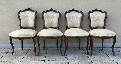Antique French Louis XV Style Carved Dining Chairs Set Of 4