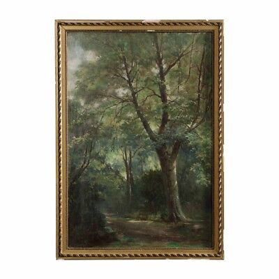 Antique French Barbizon School Oil Painting of Forest Landscape, 19th Century