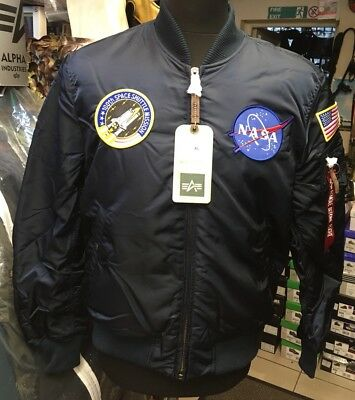 Genuine Alpha Industries MA-1 VF Rep Blue NASA Edition Bomber Jacket Size Large