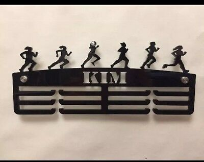 Personalised Thick 5mm Acrylic 3 Tier FEMALE RUNNER Medal Hanger / Holder /