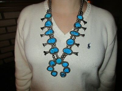 Vintage Native American Indian Sterling Silver Turquoise Squash Blossom Necklace