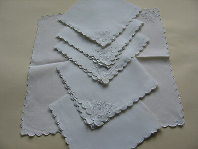 Set Of 6  Fine Tea Time Napkins Hand Embroidered White On White  Butterflies