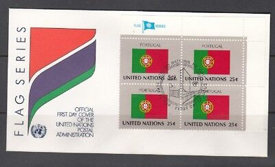 United Nations Fdc Flag Series: Portugal Flag Block Of 4