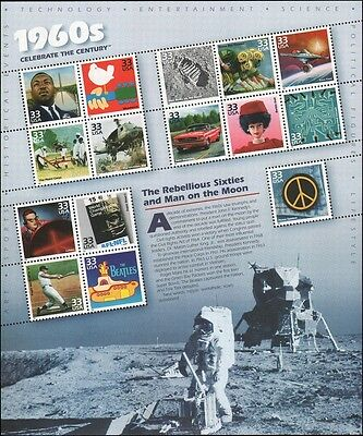 USA PANE SC# 3188(a-t) 33C. Celebrate the Century 1960s Pane of 15 - MNH