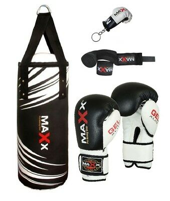 2.5FT Filled Heavy Kids Punch Bag Boxing Set With Gloves & Chain MMA Training