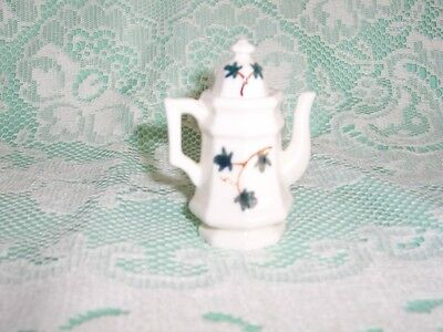 Vintage Bisque Porcelain Tiny Teapot with Hand Painted Ivy