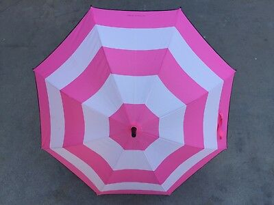 Victoria's Secret Umbrella Pink Rain Parasol Limited Edition Signature Stripe Vs