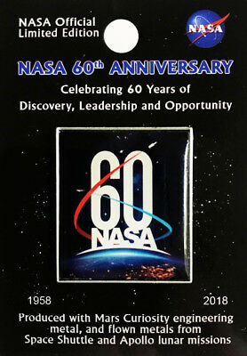NEW NASA - 60TH ANNIVERSARY - Official Limited Edition - FLOWN METAL - LAPEL PIN