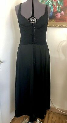 Vintage Gothic Black Olga Sheer Lace Nightgown Maxi Gown Size M/L
