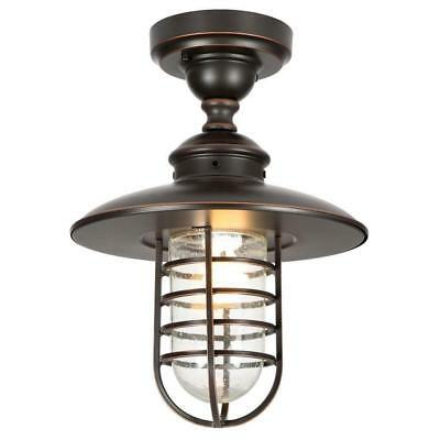 Hampton Bay Outdoor Hang Oil-Rubbed Bronze Pendant/Flushmount  BROKEN GLASS