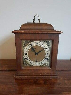 Vintage Garrard & Co Mahogany Bracket Clock with Key & pendulum (Roman Numerals)