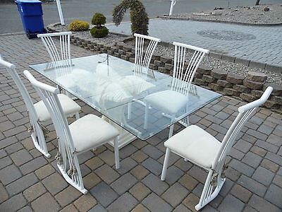 Kitchen Table Dining Set 7-Piece Breakfast White Metal 6 Chairs Dinette Glass t