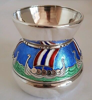 Early C20th Norwegian silver vase. Fashioned with four Viking Long Boats at sea