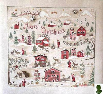 Christmas Village Sara Cross Stitch Pattern with Buttons