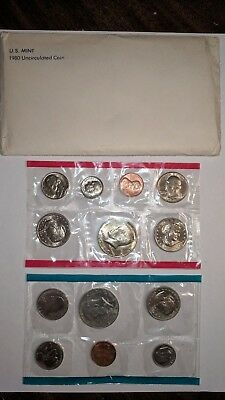 1980 P & D Mint Set Brilliant Uncirculated US Coins In OGP With Envelope