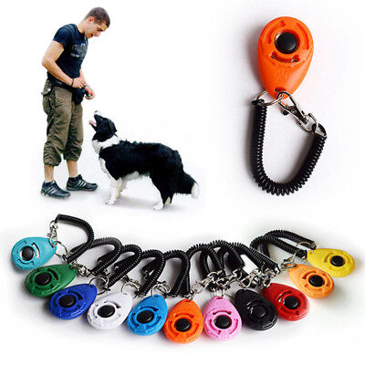 Dog Cat Button Click Clicker Trainer Obedience Aid Wrist Strap Pet Training Tool