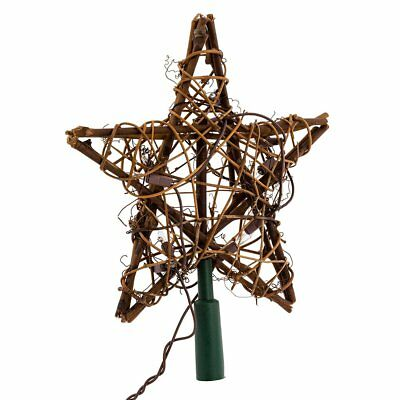XMAS Kurt Adler 10 Light Indoor Rattan Natural Star Treetop Christmas