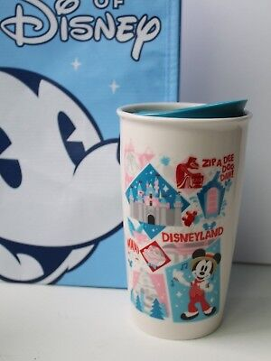 Disney Parks Disneyland Starbucks Mickey Attractions Tumbler Travel Mug +Bag NEW