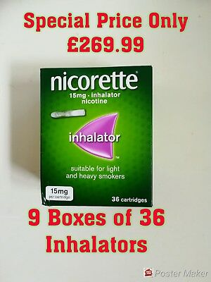 NICORETTE INHALATOR 15MG, 9 BOXES OF 36 = 324 CARTRIDGES. * Only £269.98 *.
