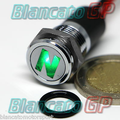 SPIA LED 14mm CON SIMBOLO N FOLLE NEUTRAL metallo lampada 12V indicator light