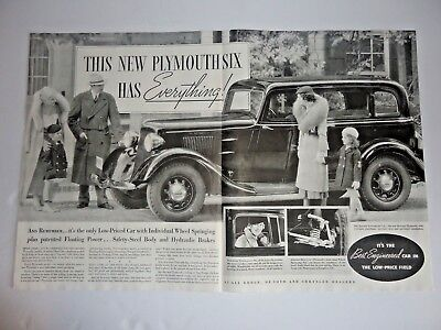 "Vintage 1934 Plymouth Six Automobile Print Ad 21-1/4"" x 13-3/4"""