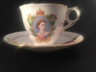 Royal Stafford Queen Elizabeth Coronation 1953 Royal Memorabilia Cup And Saucer