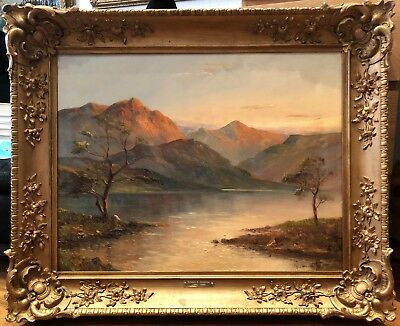 FINE LARGE Original 19th Century British OLD MASTER OIL PAINTING LAKE DISTRICT