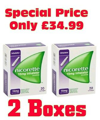 Nicorette Inhalator 15mg Cartridges 2 Boxes of 20 Inhalators.  Only £34.99