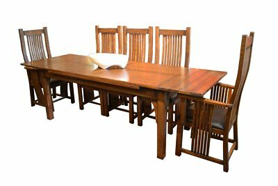 Mission Oak Dining Table With 2 Leaves and 8 High Back Dining Chairs