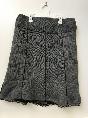 Motherhood Maternity Gray Black Lace Edge Lined A-line Skirt Womens Size Small S