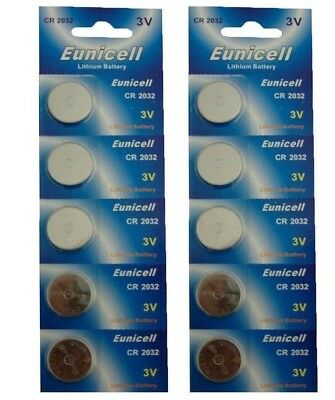 10 x Long Lasting Power Eunicell 3 V Lithium button Cell Coin Battery CR2032
