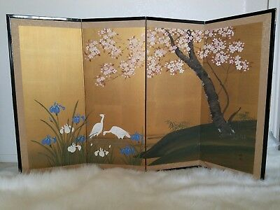 Vintage Four Panel Japanese Silk Screen