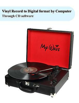 Portable Suitcase Record Player Built-in Stereo Speakers Vinyl-to-MP3 Recording