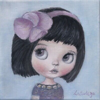 Original artwork Blythe doll paint Wall fine art girl room decor Christmas gift
