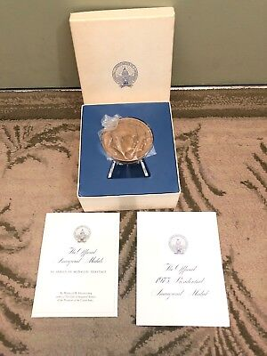 Franklin Mint 1973 Official Inaugural Medal Richard Nixon Solid Bronze in Box