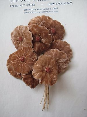 Vintage Antique Coffee Beige Velvet Millinery Hat Flower UNUSED