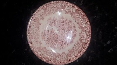 Stafford English Ironstone Red & White Rim Soup Plate Bowl COTTAGE scene