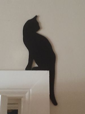 Elegant Black Cat Sitting On Top Of Door Frame Door Topper Christmas Present 🎅