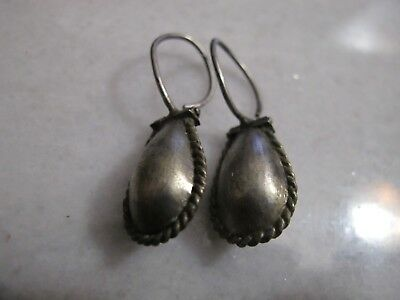 Antique Late Medieval Silver Earrings